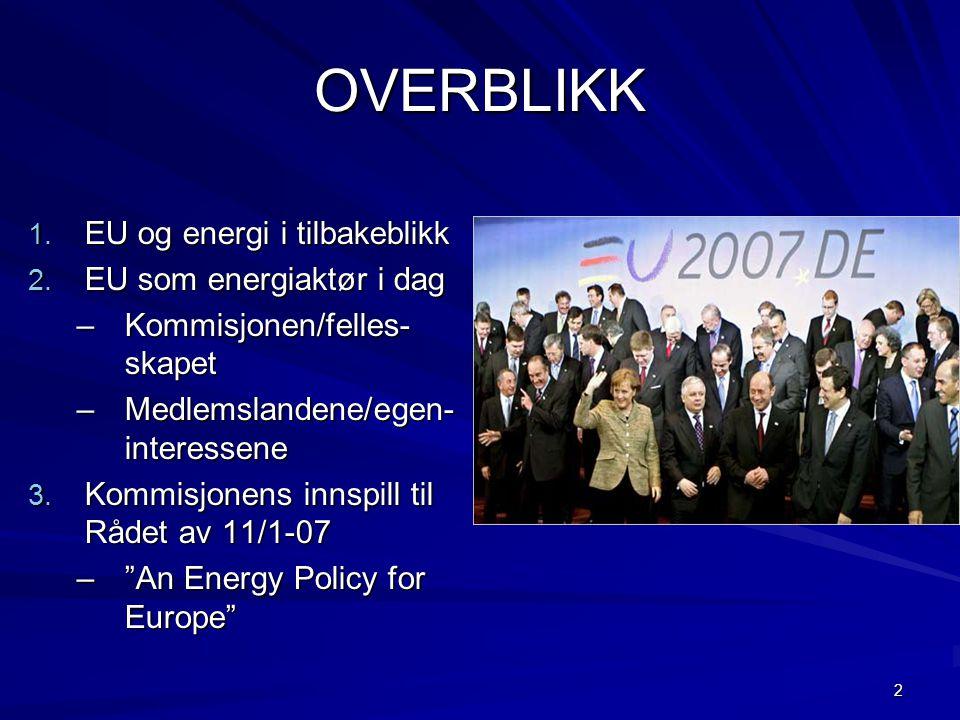 2 OVERBLIKK 1. EU og energi i tilbakeblikk 2. EU som energiaktør i dag –Kommisjonen/felles- skapet –Medlemslandene/egen- interessene 3. Kommisjonens i