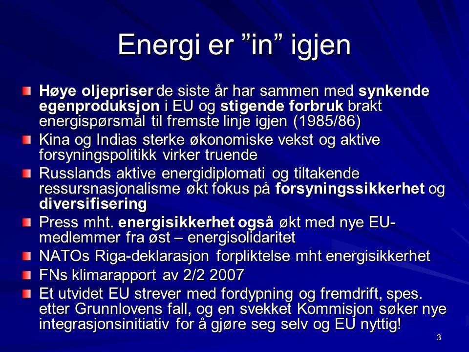 """3 Energi er """"in"""" igjen Høye oljepriser de siste år har sammen med synkende egenproduksjon i EU og stigende forbruk brakt energispørsmål til fremste li"""
