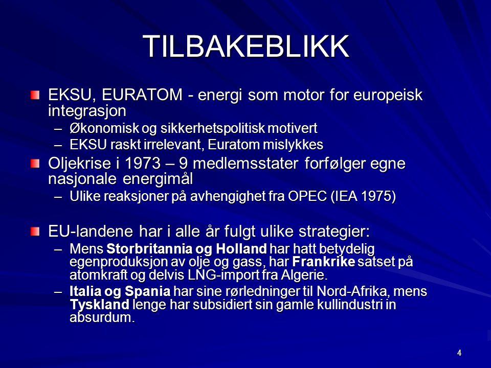 4 TILBAKEBLIKK EKSU, EURATOM - energi som motor for europeisk integrasjon –Økonomisk og sikkerhetspolitisk motivert –EKSU raskt irrelevant, Euratom mislykkes Oljekrise i 1973 – 9 medlemsstater forfølger egne nasjonale energimål –Ulike reaksjoner på avhengighet fra OPEC (IEA 1975) EU-landene har i alle år fulgt ulike strategier: –Mens Storbritannia og Holland har hatt betydelig egenproduksjon av olje og gass, har Frankrike satset på atomkraft og delvis LNG-import fra Algerie.
