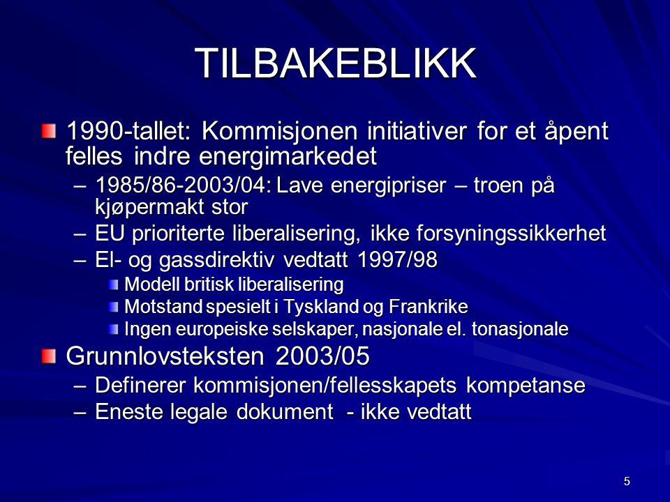 5 TILBAKEBLIKK 1990-tallet: Kommisjonen initiativer for et åpent felles indre energimarkedet –1985/86-2003/04: Lave energipriser – troen på kjøpermakt