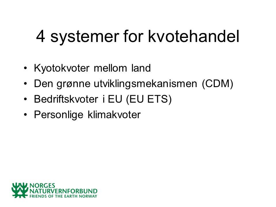 Kyotokvoter mellom land Den grønne utviklingsmekanismen (CDM) Bedriftskvoter i EU (EU ETS) Personlige klimakvoter 4 systemer for kvotehandel