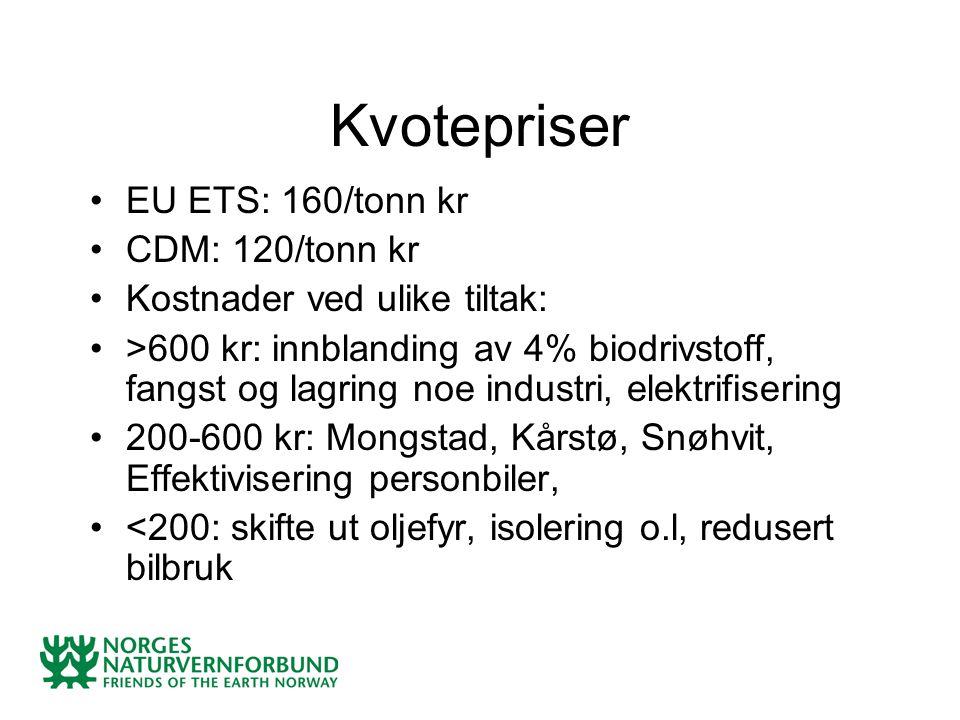 Kvotepriser EU ETS: 160/tonn kr CDM: 120/tonn kr Kostnader ved ulike tiltak: >600 kr: innblanding av 4% biodrivstoff, fangst og lagring noe industri, elektrifisering 200-600 kr: Mongstad, Kårstø, Snøhvit, Effektivisering personbiler, <200: skifte ut oljefyr, isolering o.l, redusert bilbruk