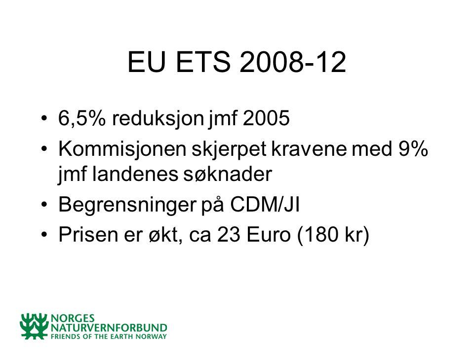EU ETS 2008-12 6,5% reduksjon jmf 2005 Kommisjonen skjerpet kravene med 9% jmf landenes søknader Begrensninger på CDM/JI Prisen er økt, ca 23 Euro (180 kr)