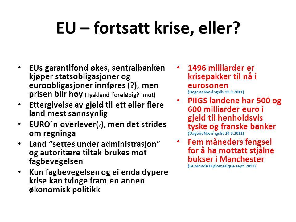 EU – fortsatt krise, eller? EUs garantifond økes, sentralbanken kjøper statsobligasjoner og euroobligasjoner innføres (?), men prisen blir høy ( Tyskl