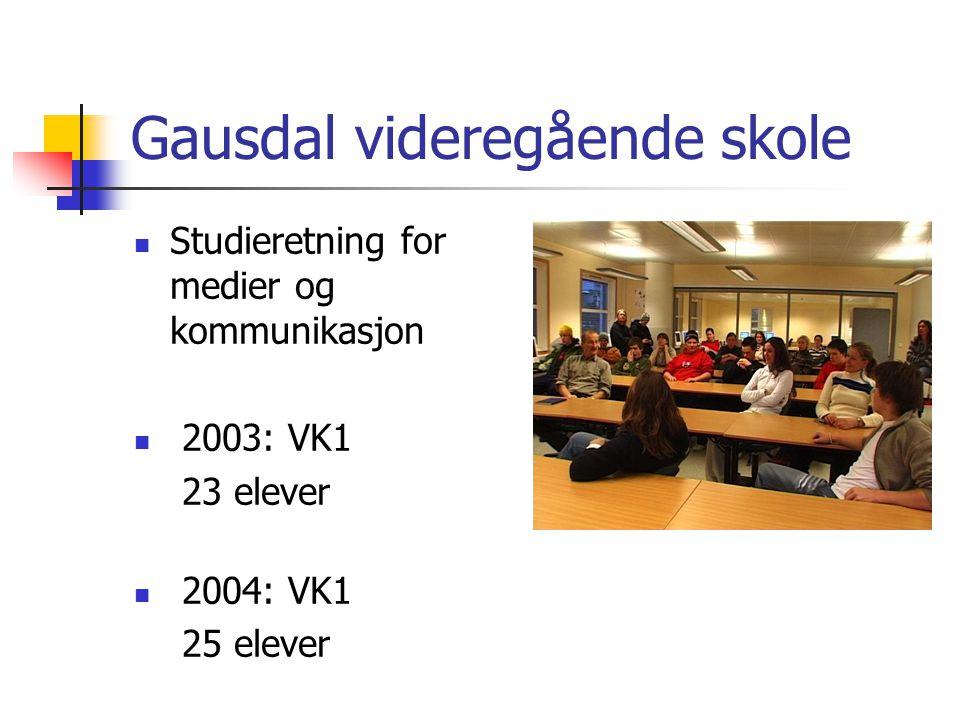 Gausdal videregående skole Studieretning for medier og kommunikasjon 2003: VK1 23 elever 2004: VK1 25 elever
