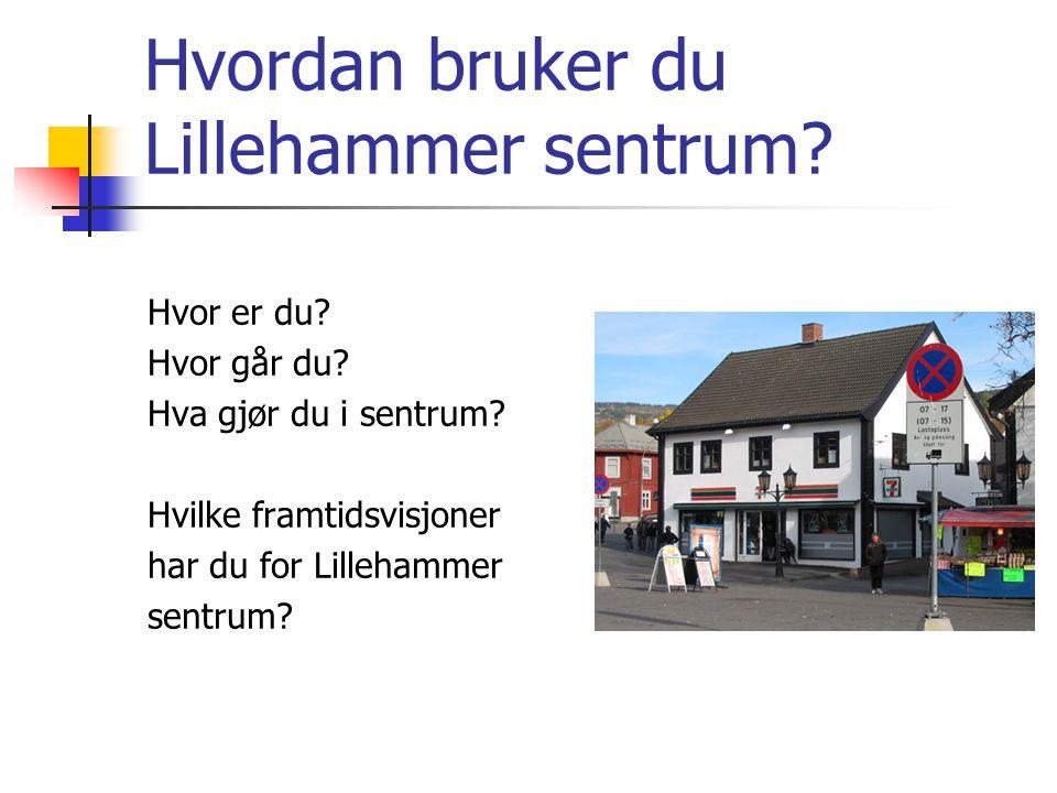 Hvordan bruker du Lillehammer sentrum. Hvor er du.