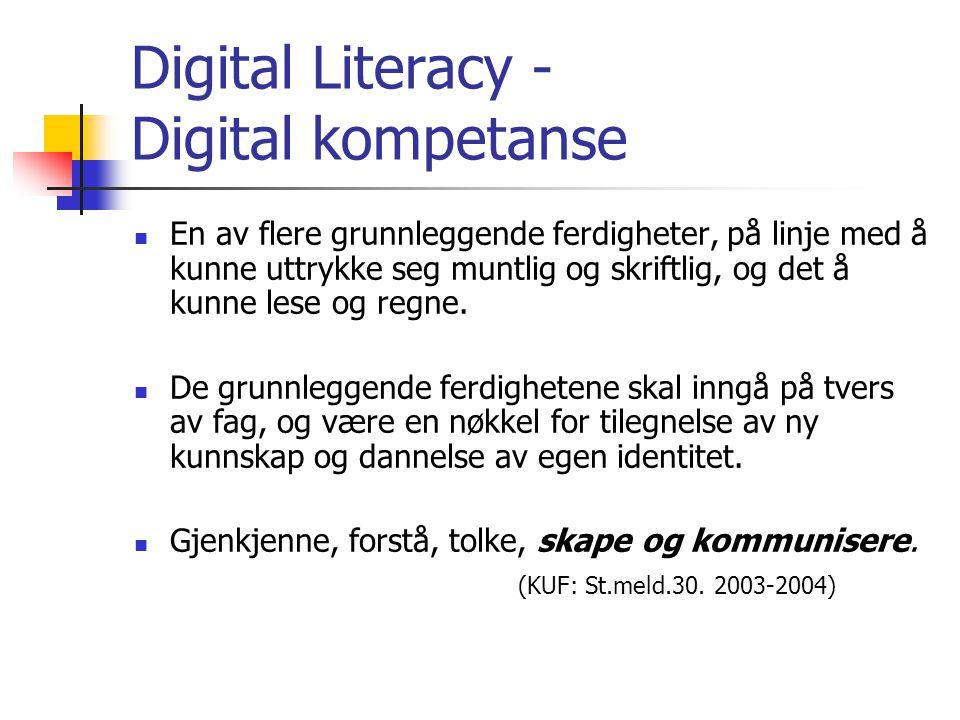 Digital Literacy - Digital kompetanse En av flere grunnleggende ferdigheter, på linje med å kunne uttrykke seg muntlig og skriftlig, og det å kunne lese og regne.
