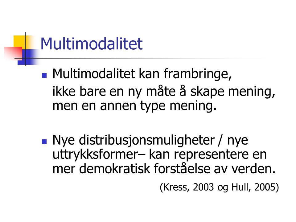 Multimodalitet Multimodalitet kan frambringe, ikke bare en ny måte å skape mening, men en annen type mening.