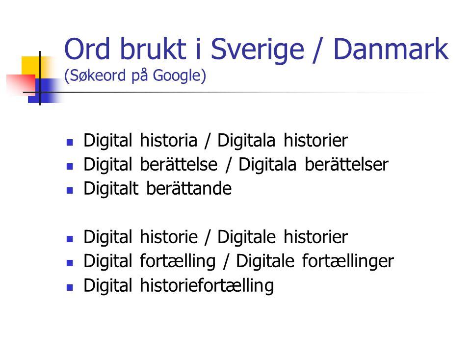 Ord brukt i Sverige / Danmark (Søkeord på Google) Digital historia / Digitala historier Digital berättelse / Digitala berättelser Digitalt berättande Digital historie / Digitale historier Digital fortælling / Digitale fortællinger Digital historiefortælling