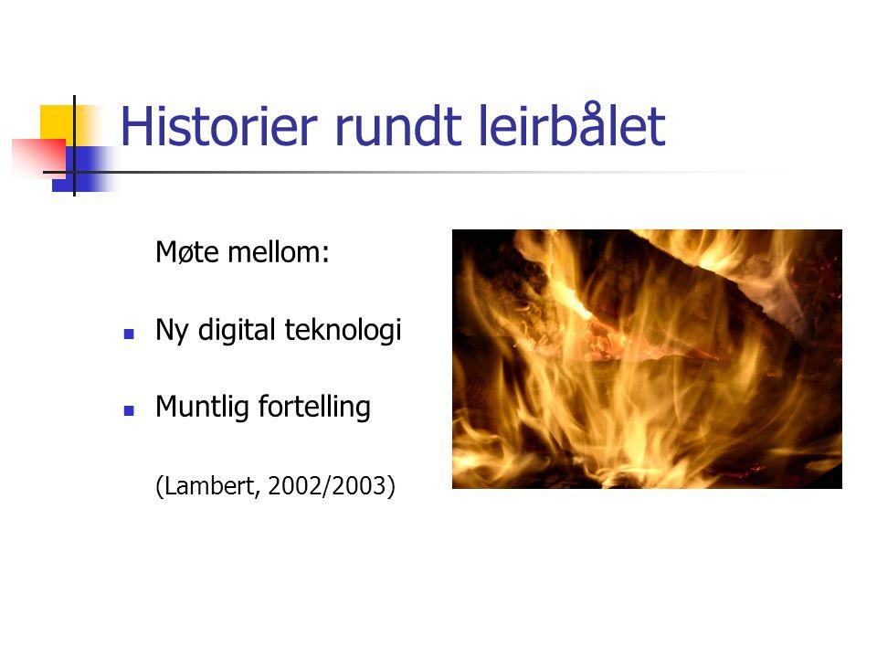 Historier rundt leirbålet Møte mellom: Ny digital teknologi Muntlig fortelling (Lambert, 2002/2003)