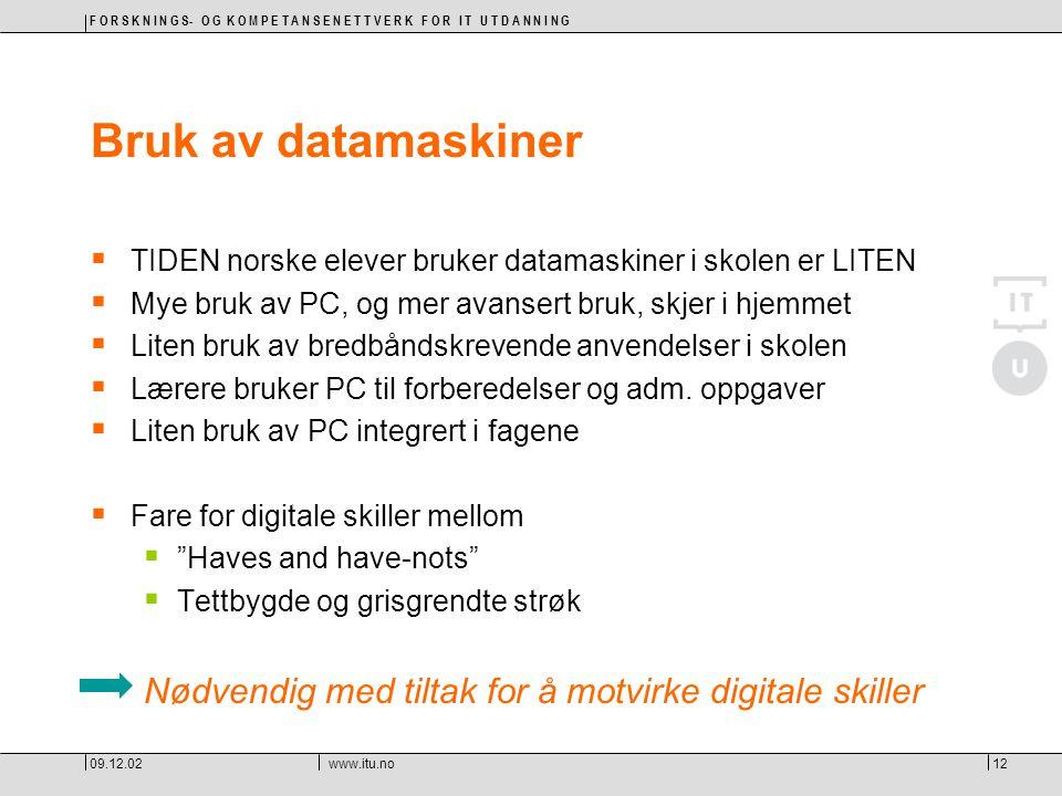 F O R S K N I N G S- O G K O M P E T A N S E N E T T V E R K F O R I T U T D A N N I N G 09.12.02www.itu.no12 Bruk av datamaskiner  TIDEN norske elev