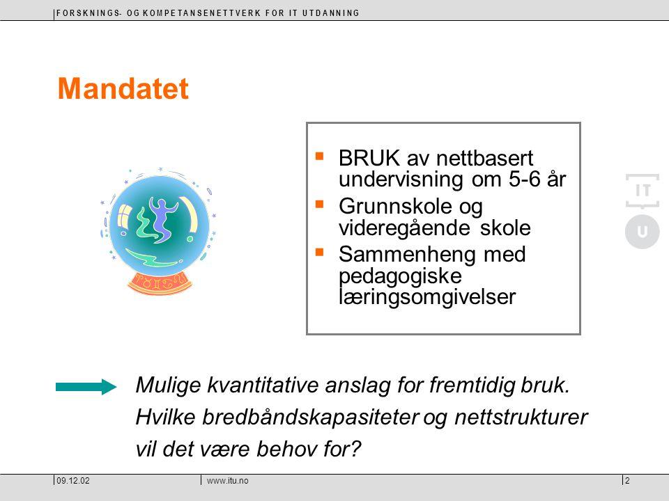F O R S K N I N G S- O G K O M P E T A N S E N E T T V E R K F O R I T U T D A N N I N G 09.12.02www.itu.no23 OPPSUMMERT: Alle norske skoler har behov for bredbånd  for å kunne gi barn og unge den kompetansen de selv og samfunnet trenger  for å motvirke utviklingen av digitale skiller  for å være på høyde med utviklingen internasjonalt