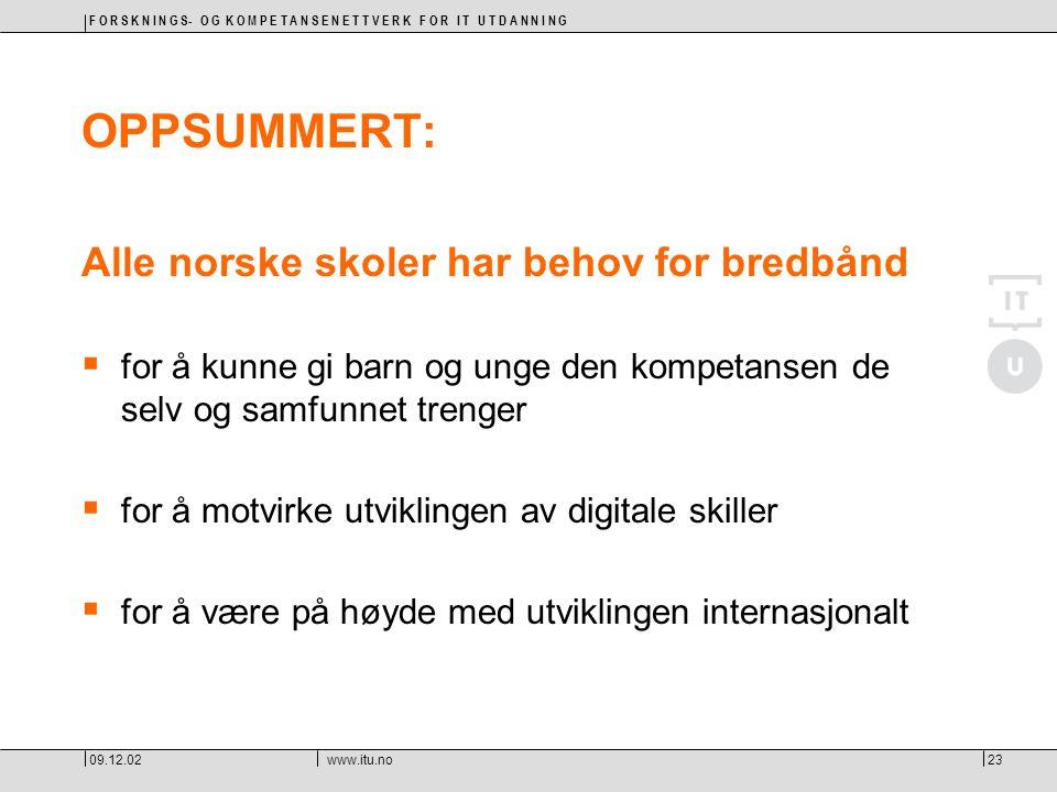 F O R S K N I N G S- O G K O M P E T A N S E N E T T V E R K F O R I T U T D A N N I N G 09.12.02www.itu.no23 OPPSUMMERT: Alle norske skoler har behov