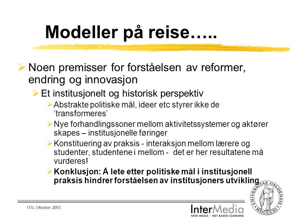 ITU, Oktober 2003 Modeller på reise…..  Noen premisser for forståelsen av reformer, endring og innovasjon  Et institusjonelt og historisk perspektiv