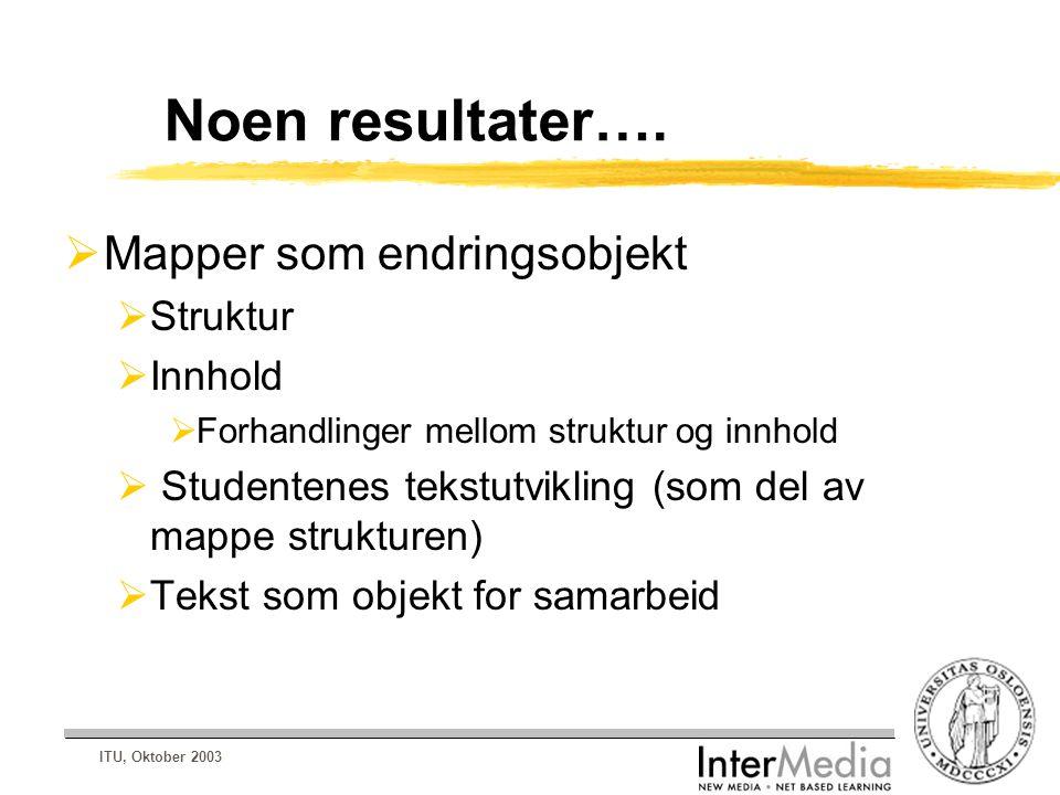 ITU, Oktober 2003 Noen resultater….