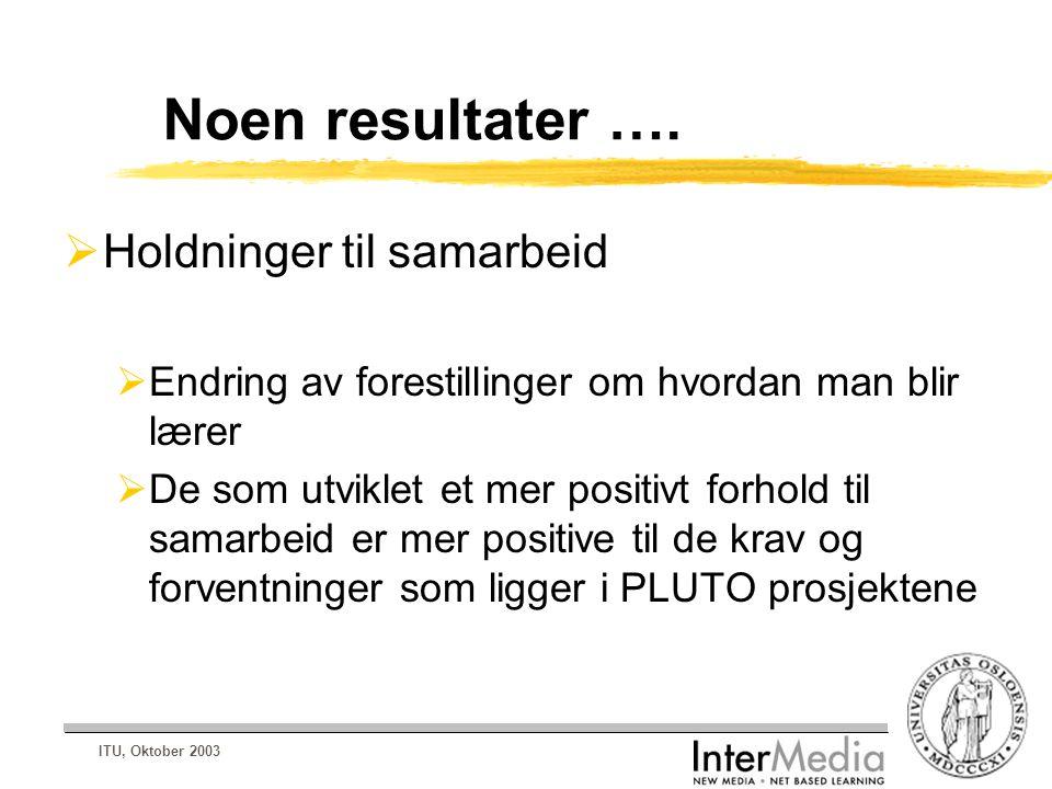 ITU, Oktober 2003 Noen resultater ….