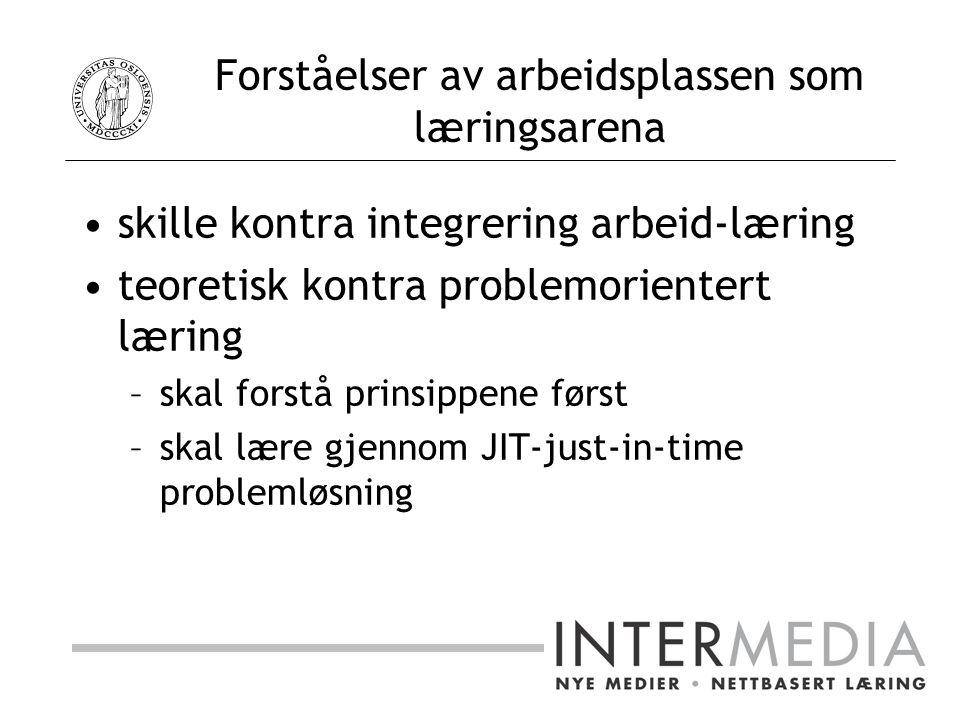 Forståelser av arbeidsplassen som læringsarena skille kontra integrering arbeid-læring teoretisk kontra problemorientert læring –skal forstå prinsippene først –skal lære gjennom JIT-just-in-time problemløsning