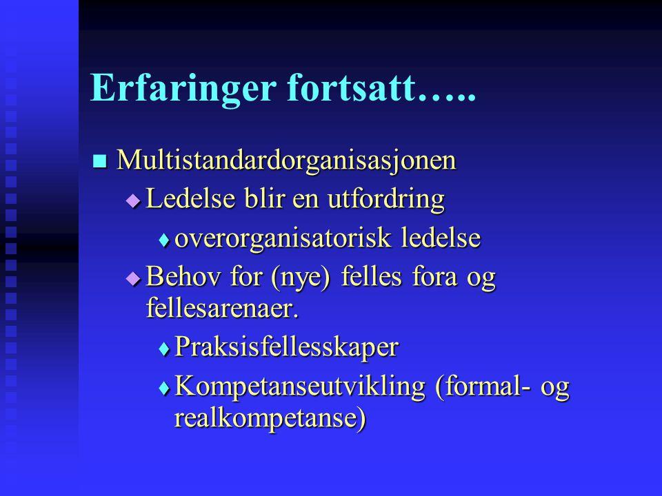 Erfaringer fortsatt….. Multistandardorganisasjonen Multistandardorganisasjonen  Ledelse blir en utfordring  overorganisatorisk ledelse  Behov for (