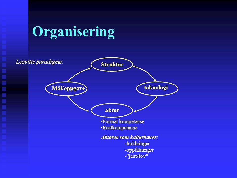 Organisering aktør teknologi Leavitts paradigme: Formal kompetanse Realkompetanse Mål/oppgave Struktur Aktøren som kulturbærer: -holdninger -oppfatnin