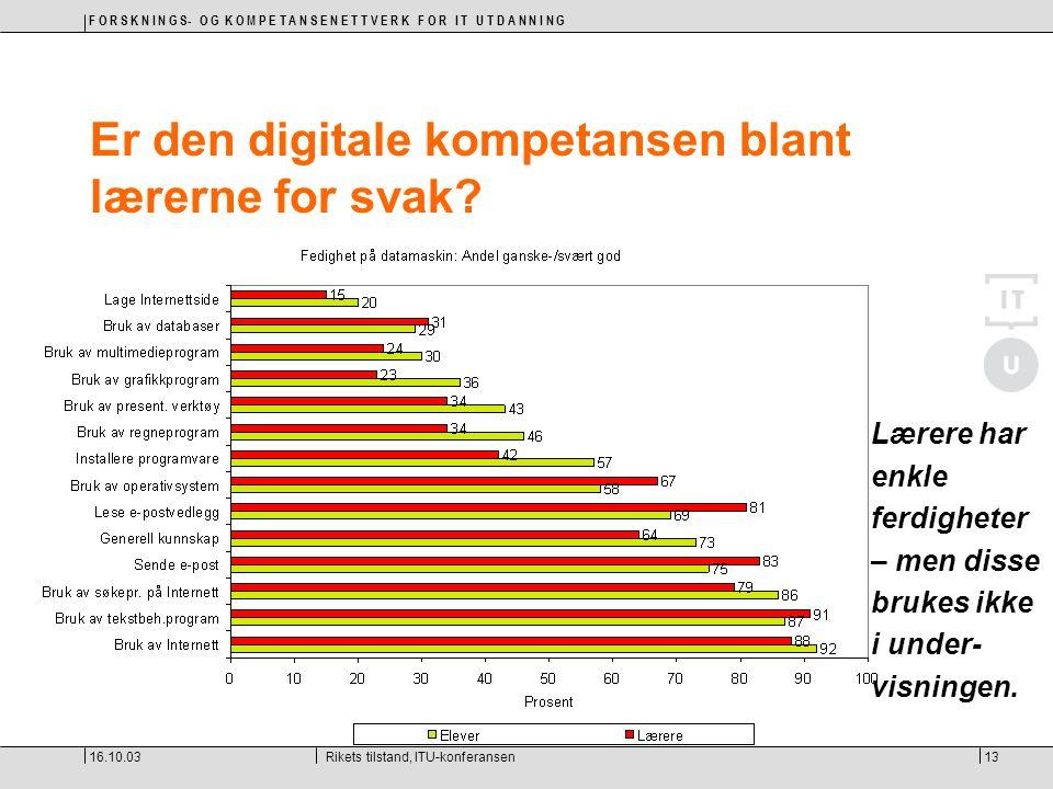 F O R S K N I N G S- O G K O M P E T A N S E N E T T V E R K F O R I T U T D A N N I N G 16.10.03Rikets tilstand, ITU-konferansen13 Er den digitale ko