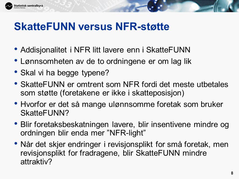 9 Skatt versus direkte støtte I Norge er direkte NFR-støtte fortsatt viktigst for store og FoU-tunge foretak (insiders – lock-in) Begrunnelsen for NFR-støtten er NFRs evne til å velge prosjekter med høy samfunnsøkonomisk lønnsomhet(?) Er det vektlagt nok i NFR.