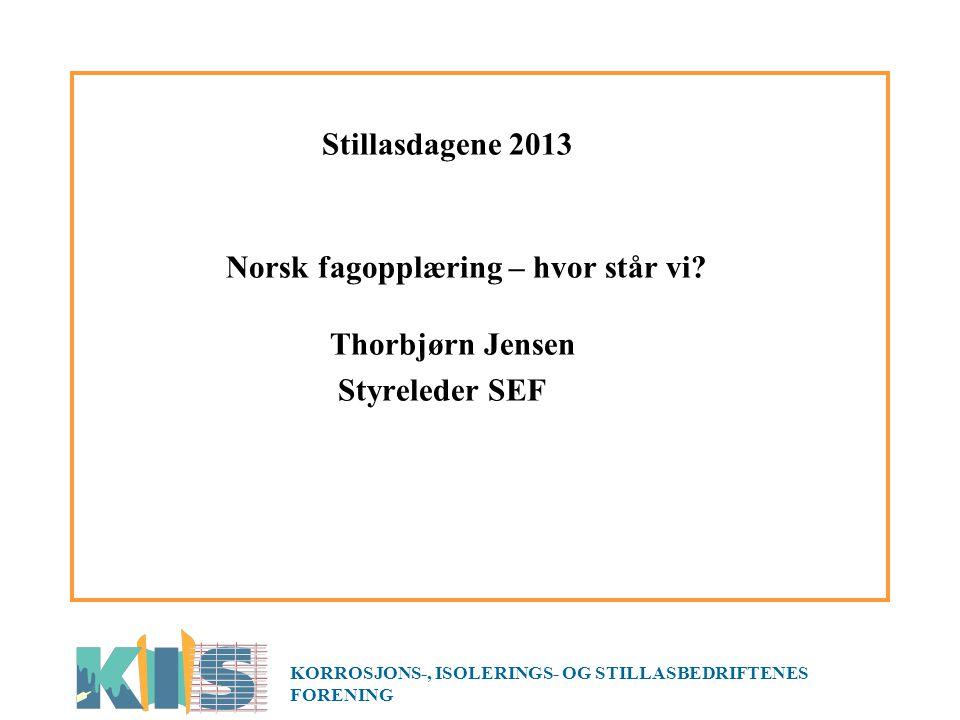 Stillasdagene 2013 Norsk fagopplæring – hvor står vi.