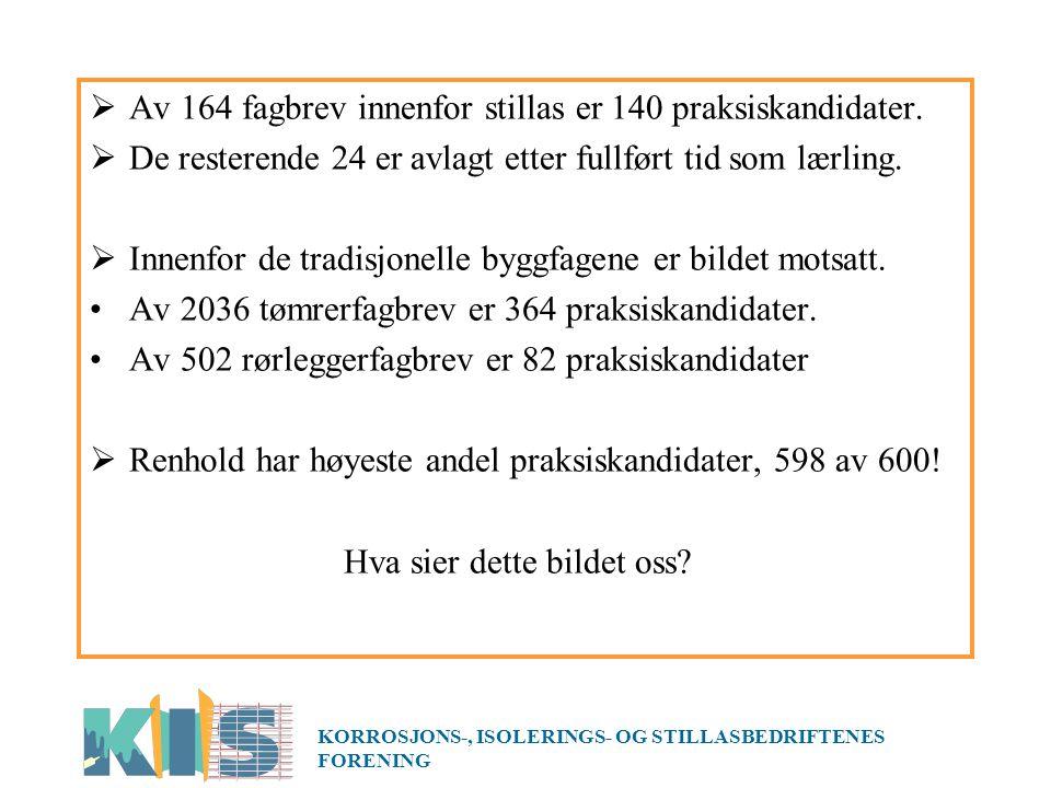 Av 164 fagbrev innenfor stillas er 140 praksiskandidater.