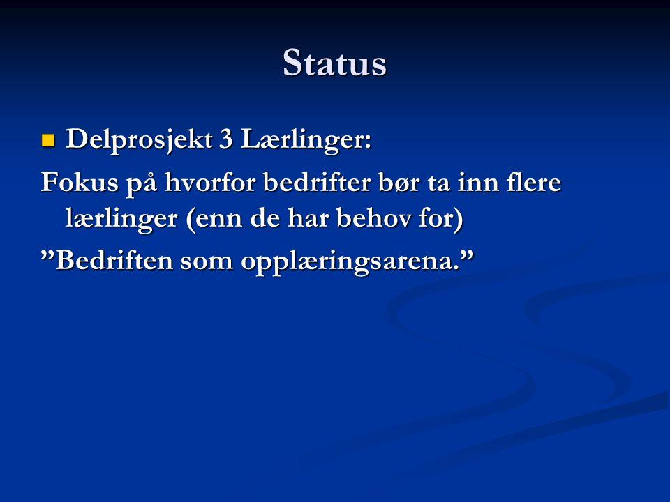 Status Delprosjekt 3 Lærlinger: Delprosjekt 3 Lærlinger: Fokus på hvorfor bedrifter bør ta inn flere lærlinger (enn de har behov for) Bedriften som opplæringsarena.