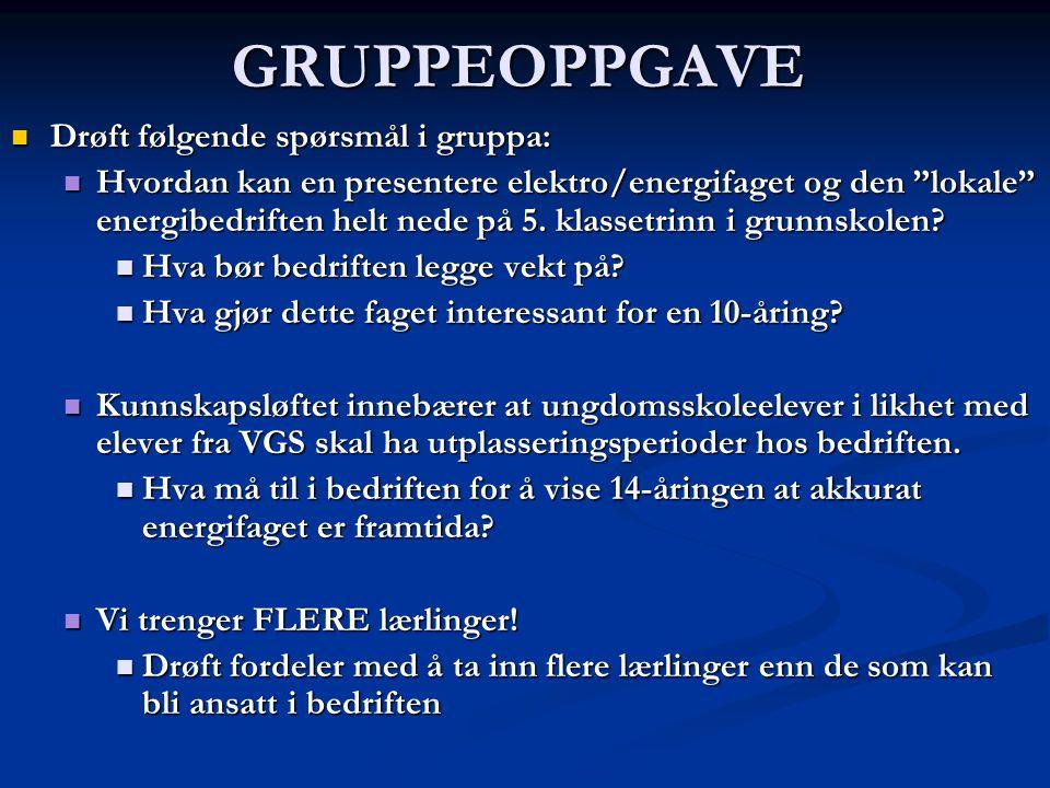 GRUPPEOPPGAVE Drøft følgende spørsmål i gruppa: Drøft følgende spørsmål i gruppa: Hvordan kan en presentere elektro/energifaget og den lokale energibedriften helt nede på 5.