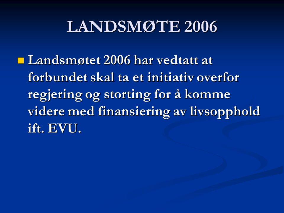 LANDSMØTE 2006 Landsmøtet 2006 har vedtatt at forbundet skal ta et initiativ overfor regjering og storting for å komme videre med finansiering av livsopphold ift.