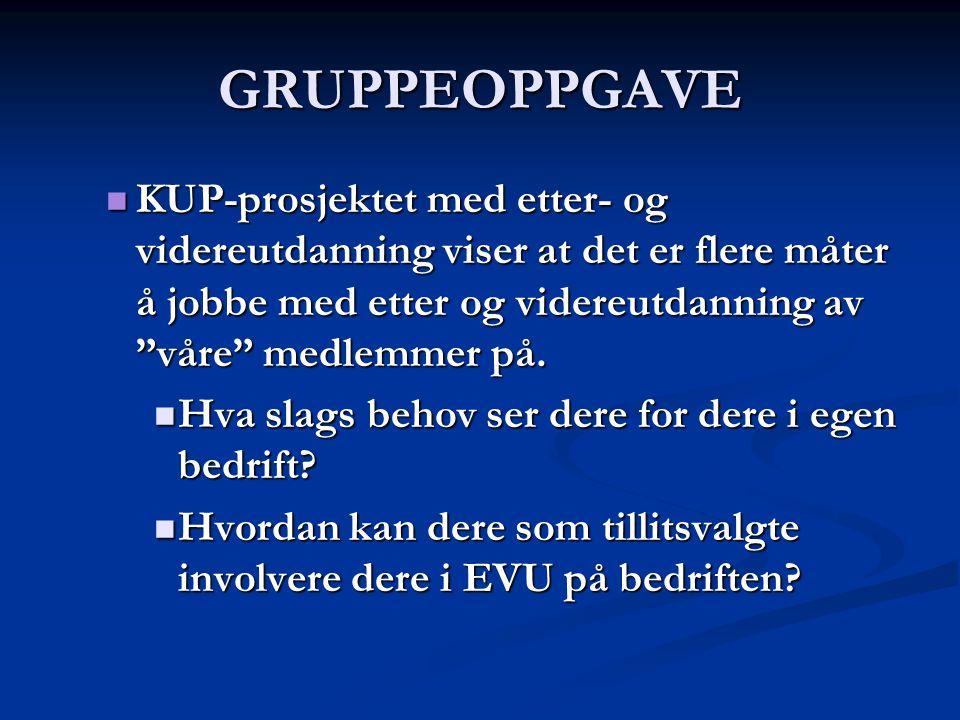 GRUPPEOPPGAVE KUP-prosjektet med etter- og videreutdanning viser at det er flere måter å jobbe med etter og videreutdanning av våre medlemmer på.