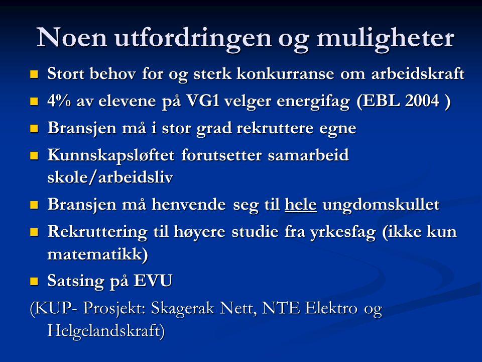 Grunnskolen BEDRIFT VG 1 Rekruttering til VG 2 Energi VG 2 Utplassering / PF Utplassering /PFV Lærlinger FagskoleHøyskole EVU VG 3 Utplassering/ PF