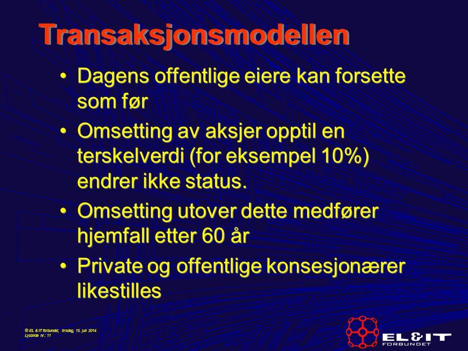 © EL & IT forbundet, tirsdag, 15. juli 2014 Lysbilde nr.: 11 Transaksjonsmodellen Dagens offentlige eiere kan forsette som før Omsetting av aksjer opp