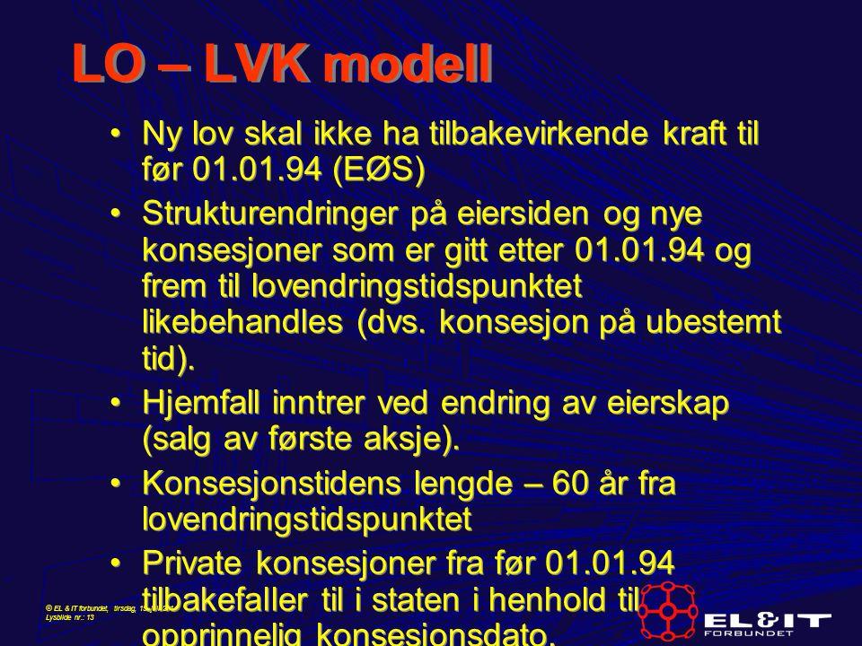 © EL & IT forbundet, tirsdag, 15. juli 2014 Lysbilde nr.: 13 LO – LVK modell Ny lov skal ikke ha tilbakevirkende kraft til før 01.01.94 (EØS) Struktur