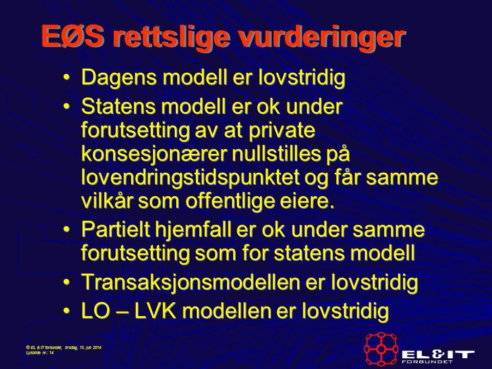© EL & IT forbundet, tirsdag, 15. juli 2014 Lysbilde nr.: 14 EØS rettslige vurderinger Dagens modell er lovstridig Statens modell er ok under forutset