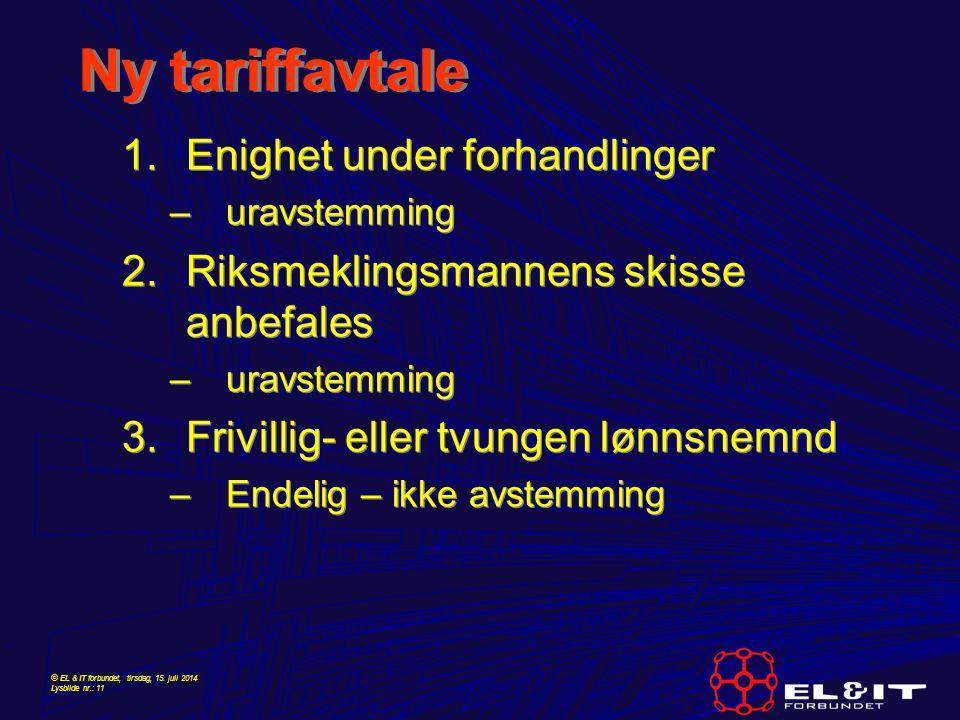 © EL & IT forbundet, tirsdag, 15. juli 2014 Lysbilde nr.: 11 Ny tariffavtale 1.Enighet under forhandlinger –uravstemming 2.Riksmeklingsmannens skisse