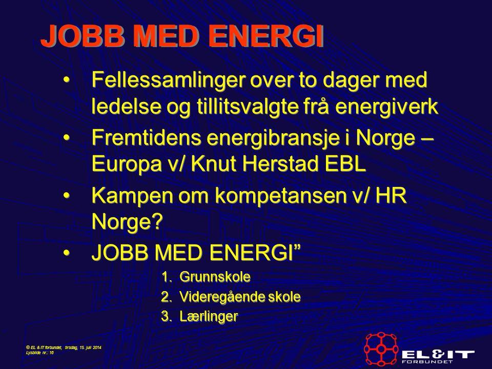 © EL & IT forbundet, tirsdag, 15. juli 2014 Lysbilde nr.: 16 JOBB MED ENERGI Fellessamlinger over to dager med ledelse og tillitsvalgte frå energiverk