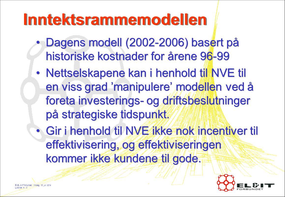 © EL & IT forbundet, tirsdag, 15. juli 2014 Lysbilde nr.: 3 Inntektsrammemodellen Dagens modell (2002-2006) basert på historiske kostnader for årene 9