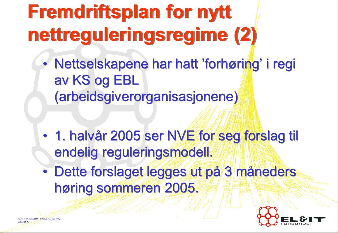 © EL & IT forbundet, tirsdag, 15. juli 2014 Lysbilde nr.: 7 Fremdriftsplan for nytt nettreguleringsregime (2) Nettselskapene har hatt 'forhøring' i re