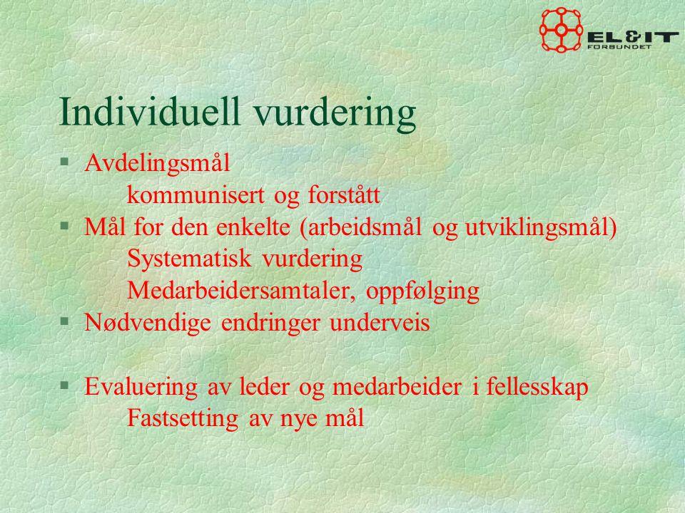 Individuell vurdering §Avdelingsmål kommunisert og forstått §Mål for den enkelte (arbeidsmål og utviklingsmål) Systematisk vurdering Medarbeidersamtal
