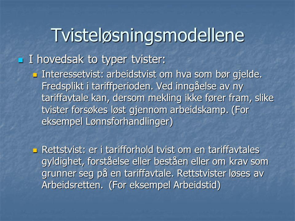 Tvisteløsningsmodellene I hovedsak to typer tvister: I hovedsak to typer tvister: Interessetvist: arbeidstvist om hva som bør gjelde.