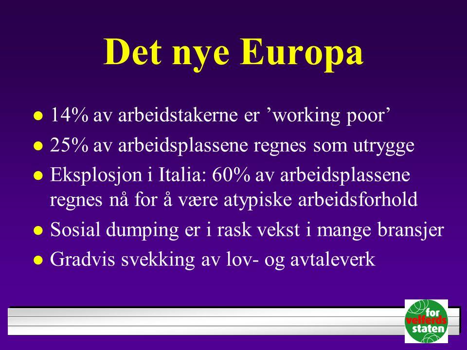 Det nye Europa 14% av arbeidstakerne er 'working poor' 25% av arbeidsplassene regnes som utrygge Eksplosjon i Italia: 60% av arbeidsplassene regnes nå for å være atypiske arbeidsforhold Sosial dumping er i rask vekst i mange bransjer Gradvis svekking av lov- og avtaleverk