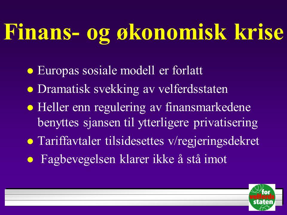Finans- og økonomisk krise Europas sosiale modell er forlatt Dramatisk svekking av velferdsstaten Heller enn regulering av finansmarkedene benyttes sjansen til ytterligere privatisering Tariffavtaler tilsidesettes v/regjeringsdekret Fagbevegelsen klarer ikke å stå imot