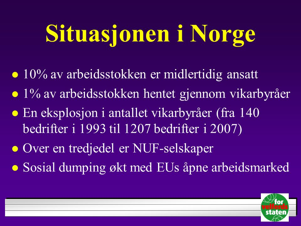 Situasjonen i Norge 10% av arbeidsstokken er midlertidig ansatt 1% av arbeidsstokken hentet gjennom vikarbyråer En eksplosjon i antallet vikarbyråer (
