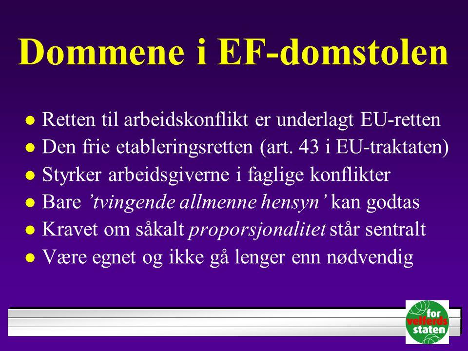 Dommene i EF-domstolen Retten til arbeidskonflikt er underlagt EU-retten Den frie etableringsretten (art. 43 i EU-traktaten) Styrker arbeidsgiverne i