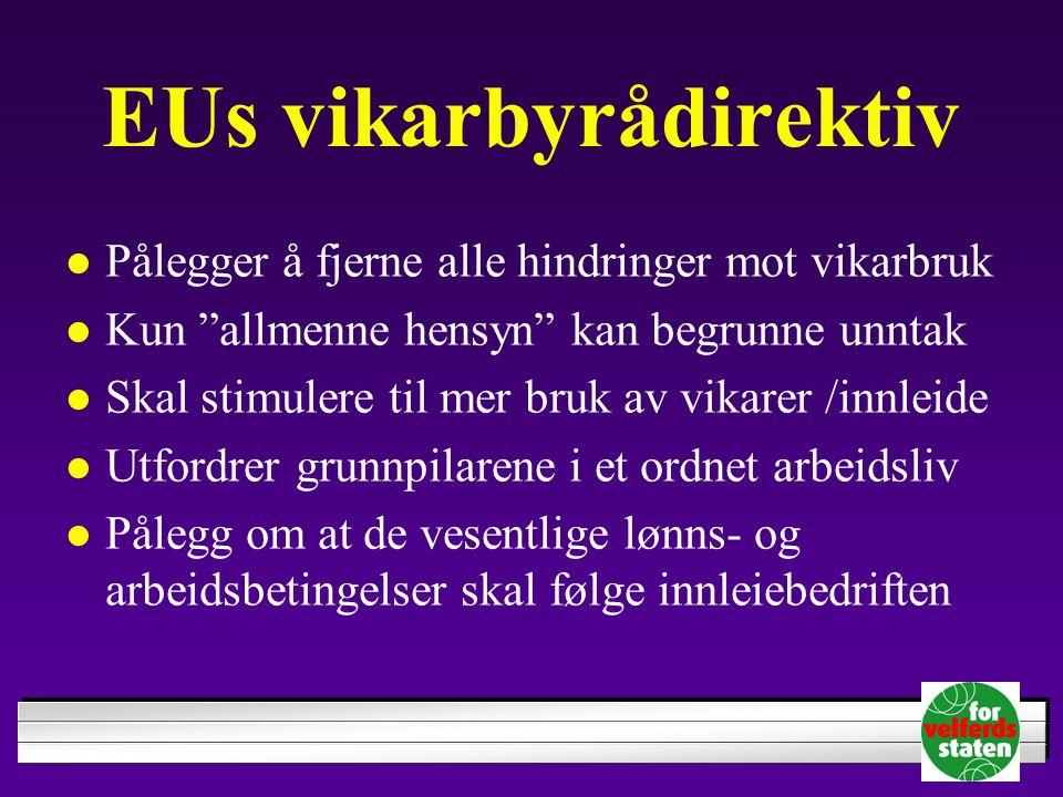 """EUs vikarbyrådirektiv Pålegger å fjerne alle hindringer mot vikarbruk Kun """"allmenne hensyn"""" kan begrunne unntak Skal stimulere til mer bruk av vikarer"""