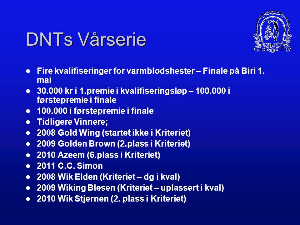 DNTs Vårserie DNTs Høstfinale Nyheter i 2008. Forbeholdt for hester som er innmeldingsberettiget i klasseløpene Gir en bedre fordeling av premier på f