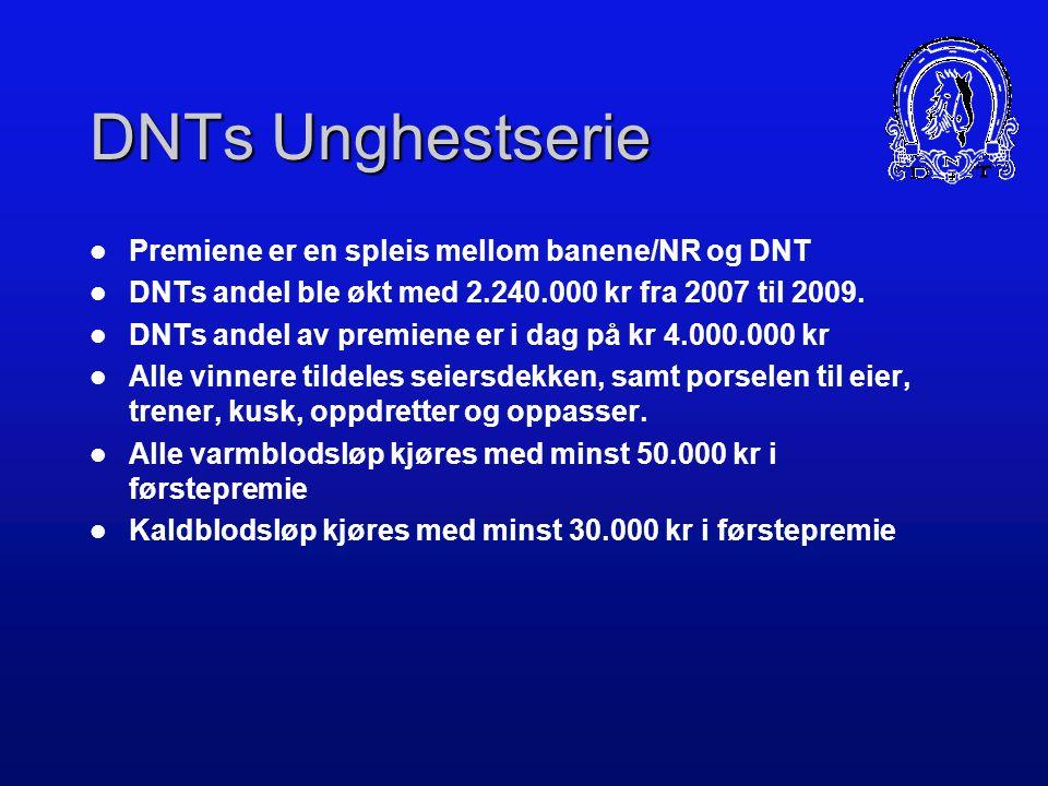 DNTs Unghestserie Premiene er en spleis mellom banene/NR og DNT DNTs andel ble økt med 2.240.000 kr fra 2007 til 2009.