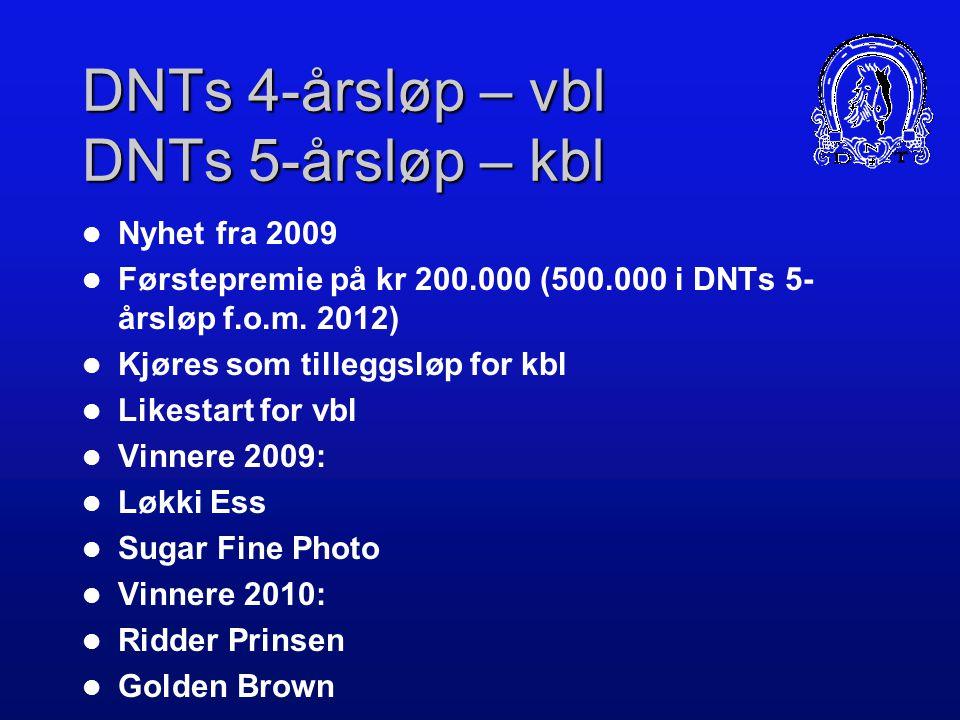 DNTs Unghestserie Premiene er en spleis mellom banene/NR og DNT DNTs andel ble økt med 2.240.000 kr fra 2007 til 2009. DNTs andel av premiene er i dag