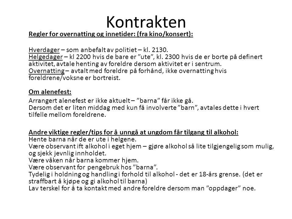 Kontrakten Regler for overnatting og innetider: (fra kino/konsert): Hverdager – som anbefalt av politiet – kl.